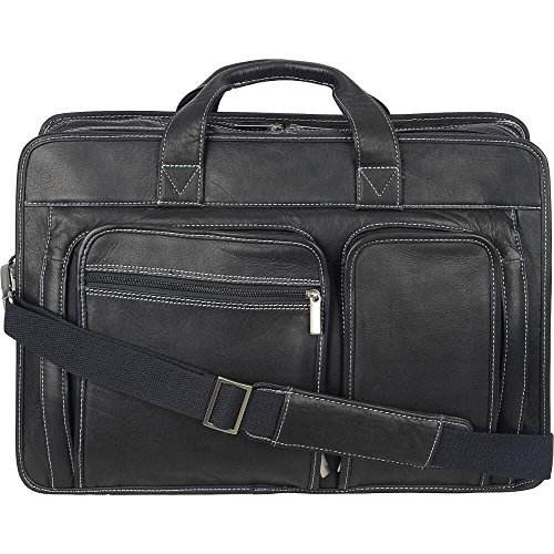 Wilsons Leather Mens Vacqueta Triple Gusset Leather Brief Black (17' Laptop Leather Brief)