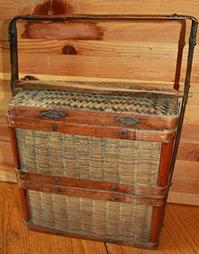 Basket Vintage handmade wicker wood 2 compartment Basket Sewing fishing gatherin