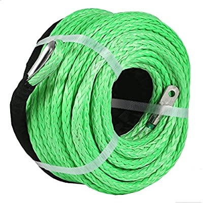 """LOVSHARE 5/16"""" 100 FT Strands Winch Rope 12000 LBS Tow Strap Rope 12 Strands Dyneema Synthetic Winch Rope Towing Recovery with M12 Galvanized Thimble and JG 70-8 Lug for ATV UTV SUV Vehicle Motorc"""
