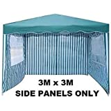 Tooltime Pack of 3 Side Panels for 3m x 3m Garden Gazebo - Green & White Stripe with Windows