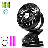 Clip on Fan with Double Battery&Desk Fan, Adjustable Speeds, Rechargeable Battery Operated. Useful for Baby Strollers, Office Table, Travel, car, Outdoors, with Sponge for Essential Oils or Water