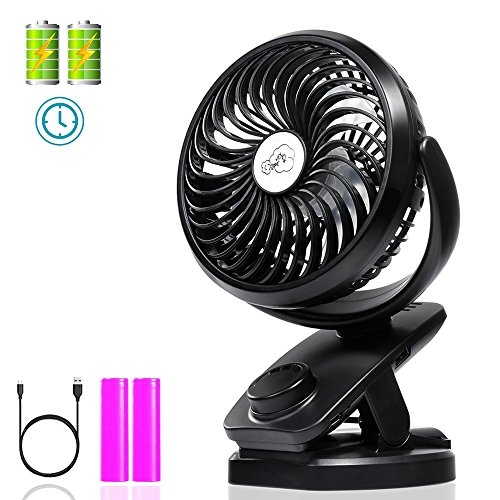 Clip on Fan with Double Battery&Desk Fan, Adjustable Speeds, Rechargeable Battery Operated. Useful for Baby Strollers, Office Table, Travel, car, Outdoors, with Sponge for Essential Oils or Water by Socool fan