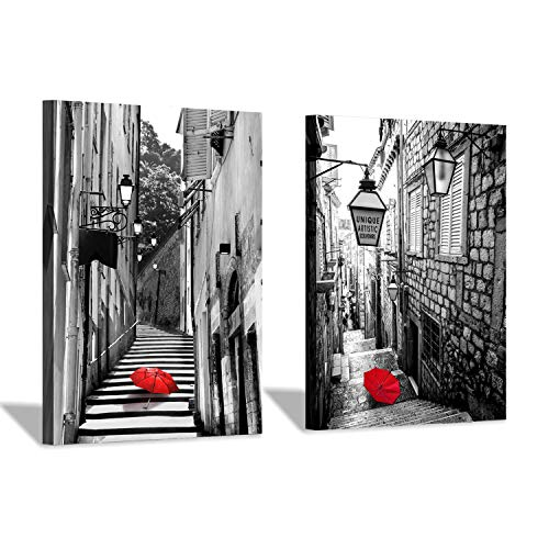 (Paris Cityscape Canvas Wall Art: Steps with Red Umbrella Artwork Painting Print for Wall Decor (12''x16''x2pcs/Set))