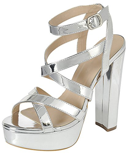 Cambridge Select Women's Crisscross Ankle Strappy Peep Toe Platform Chunky Wrapped High Heel Dress Sandal (9 B(M) US, - Heel Chunky Casual Shoe Platform