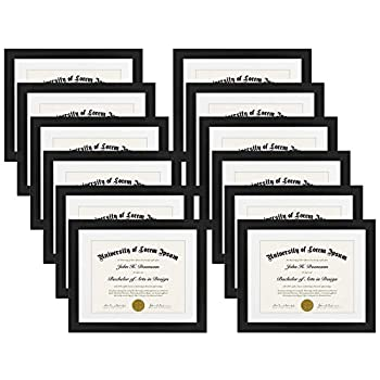 Home and Kitchen Americanflat 12 Pack - 11x14 Document Frames - Made for Documents Sized 8.5x11 with Mats and 11x14 Without Mats - Black
