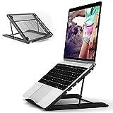 JUMKEET Laptop Stand,Foldable Portable Ventilated Desktop Laptop Holder,Universal Lightweight&Adjustable Ergonomic Tray Mount Compatible with iM(ac)/Laptop/Notebook Computer/Tablet (Black)