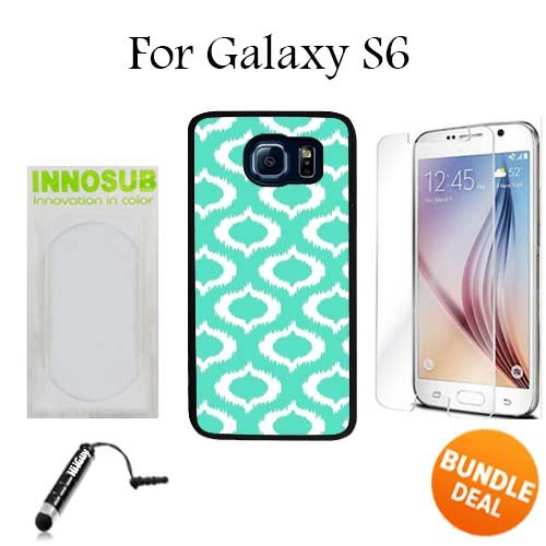 Ikat Mint Custom Galaxy S6 Cases-Black-Plastic,Bundle 3in1 Comes with HD Tempered Glass/Universal Stylus Pen by innosub