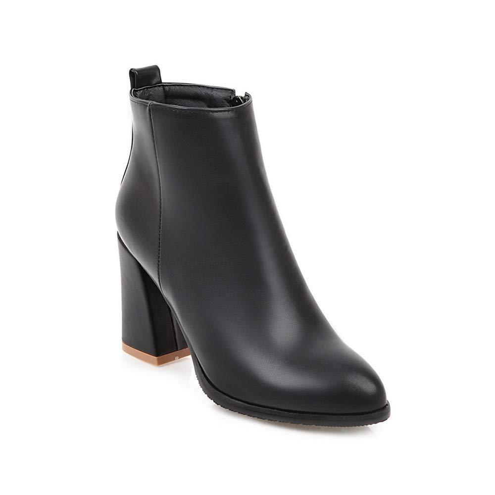 JING Weibliche Fersenschuhe Einfach und und und vielseitig dick mit hohem Absatz wies niedrige Röhre große Damen Stiefel Stiefel schwarz 1dd4f1