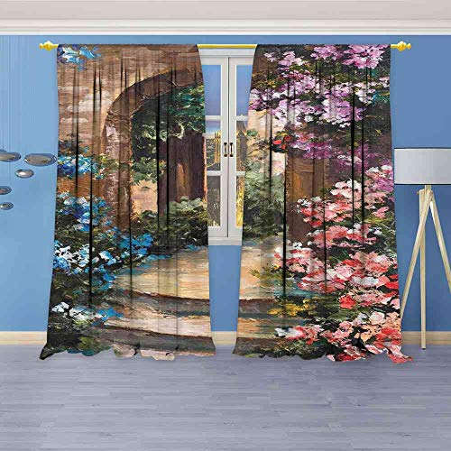 Tr.G Blackout Curtains Flower,Brushstrokes Red Poppies and White Marguerites on a Summer Meadow Image,Violet Coral and Blue Curtains Bedroom W120 x L96(305cm x 245cm)