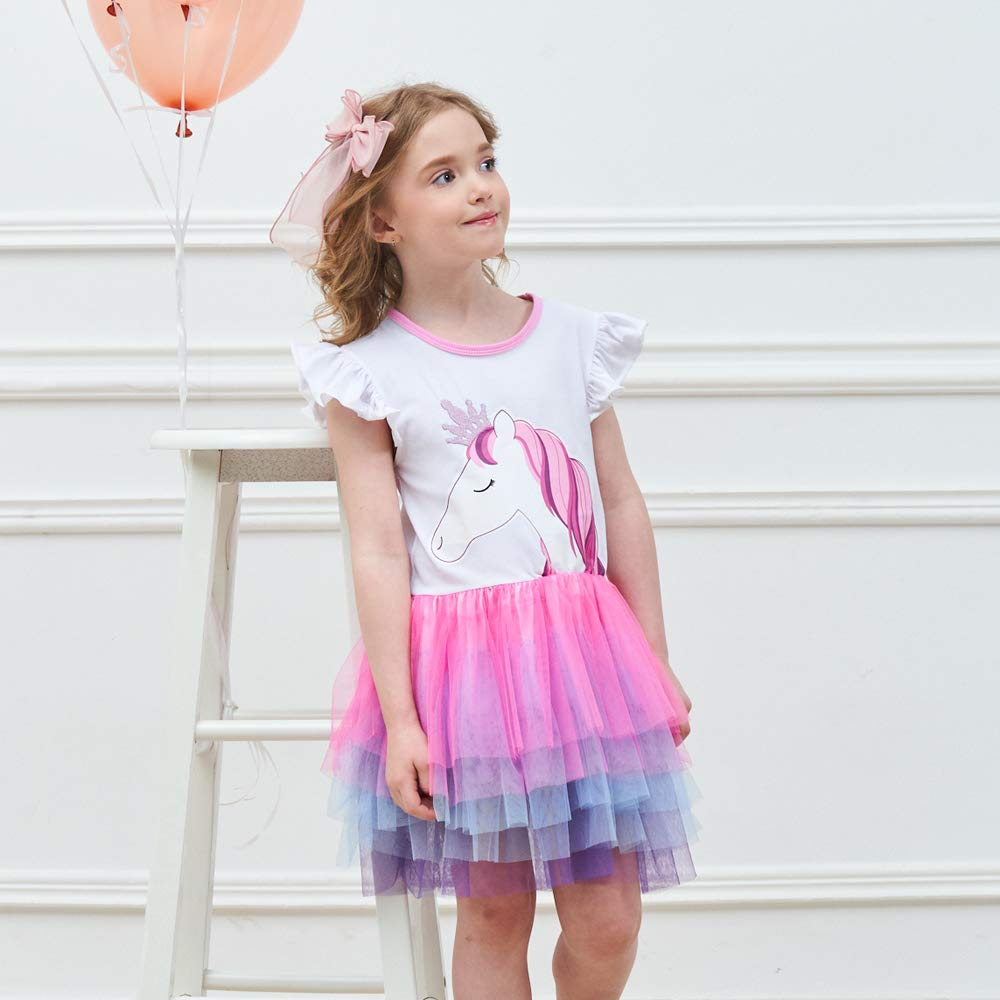 VIKITA Kid Girls Dresses Princess Cartoon Cotton Tulle Party Casual Outfits Clothing 1-8 Years