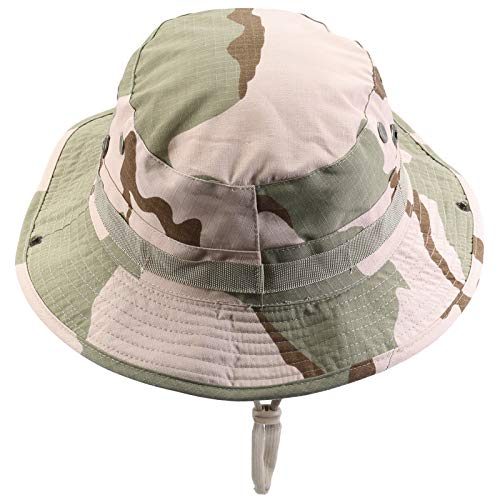 Cotton Desert Storm Camouflage - squaregarden Military Camo Adjustable Boonie Hat Hunting Bucket Hats / Desert Camo