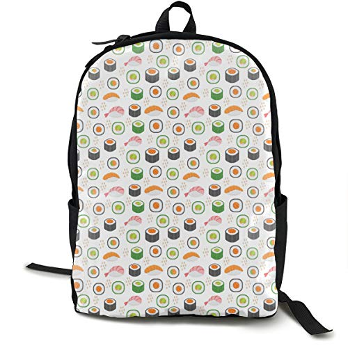 (E Bibs Sushi Pattern Headkerchief Outdoor Sport Gym Waterproof Backpack Drawsting Rucksack Shoulder Bags Unisex)