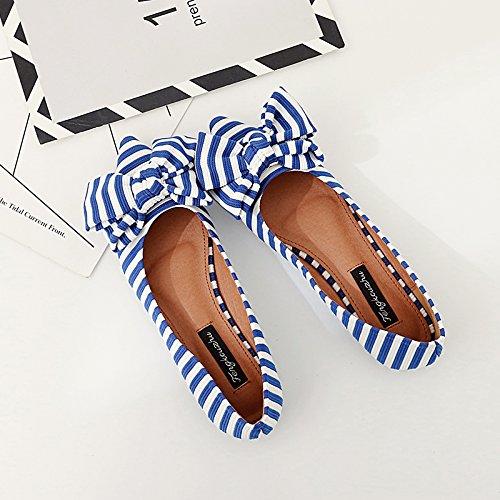 Xue Qiqi Court Schuhe Flache Flache Flache Schuhe mit flachem Boden Flache Schuhe mit flachem Boden Damen gestreiftes Schmetterling Schuhe mit niedrigem Absatz Vier-Lederschuhe 36 Blau f9c041