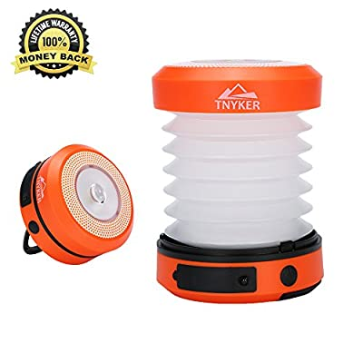 Solar LED Lantern - Camping Lantern Flashlight - Rechargeable by Solar/USB - Collapses Portable - Torch for Hiking, Camping, Emergencies -Super Bright Camp Light Lamp - Emergency Phone Charger