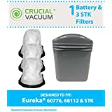 3 STK Style Dust Cup Filter & Battery for Eureka STK Quick Series 96B, 162A, 164B, 169A Vacuums; Compare to Eureka Part Nos. 61544, 60776, 68112; Designed & Engineered by Think Crucial