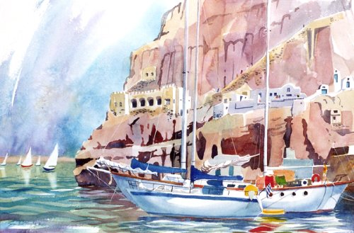 Style ARThouse Boats At Santorini, Giclee Print of a Watercolor Seascape, Picture of Sailboats Docked on a Greek Island, 13 X 20 -