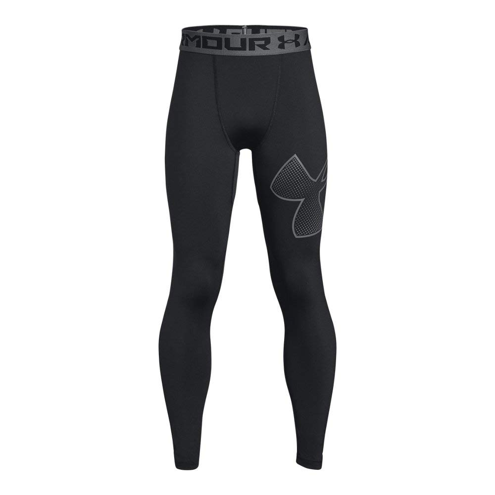 Under Armour Boys Heatgear Logo Leggings, Black /Graphite, Youth X-Small by Under Armour