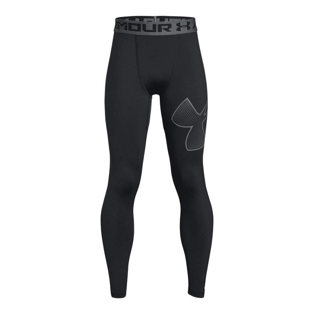 Under Armour Boys Heatgear Logo Leggings, Black /Graphite, Youth Large