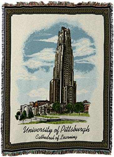 Pure Country Weavers - University of Pittsburgh Cathedral of Learning Stadium Woven Tapestry Throw Blanket with Fringe USA Size 72 x 54 ()