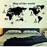 "Docooler® World Map Profile Black Simple Design Removable Wall Stickers DIY Wallpaper Mural(90* 60cm/35.4"" * 23.6"")"