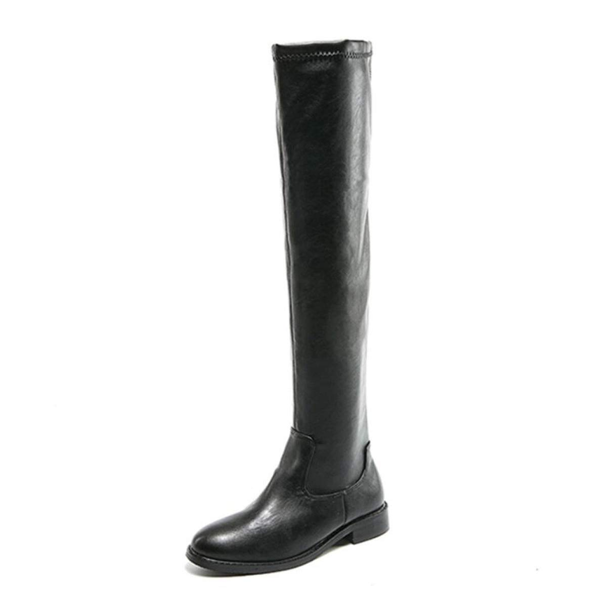Black Womens Over Knee High Boots Flat Heel Martin Boots Ladies Buckle Fall Winter shoes