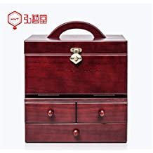 MXXYY Creative Handmade Retro Metal lock Wooden Cosmetic Storage Box Big Size Dressing Organizer Box With a mirror Drawers European Style