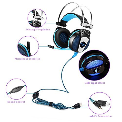 KOTION EACH GS500 Professional 3.5mm PC Stereo Gaming Headset, Bass Headphones, Comfortable Headband with in-line Mic, Integrated Microphone, LED Light for PS4 PC Computer Laptop Mobile Phones (Blue)