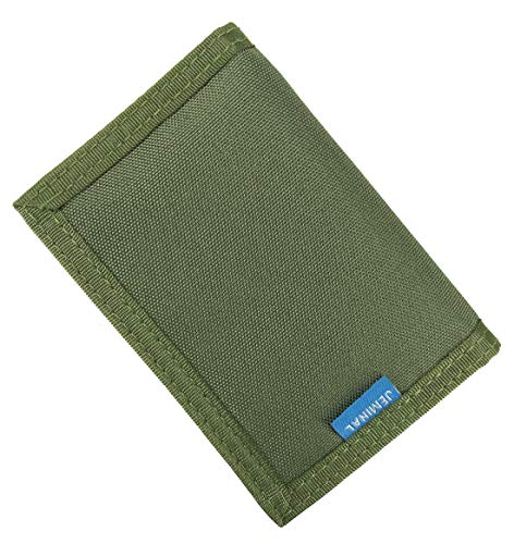 JEMINAL New Mens Canvas Trifold Wallets for Boys Purse with id window (01 - Army Green + RFID Blocking (Upgrade 2.0))