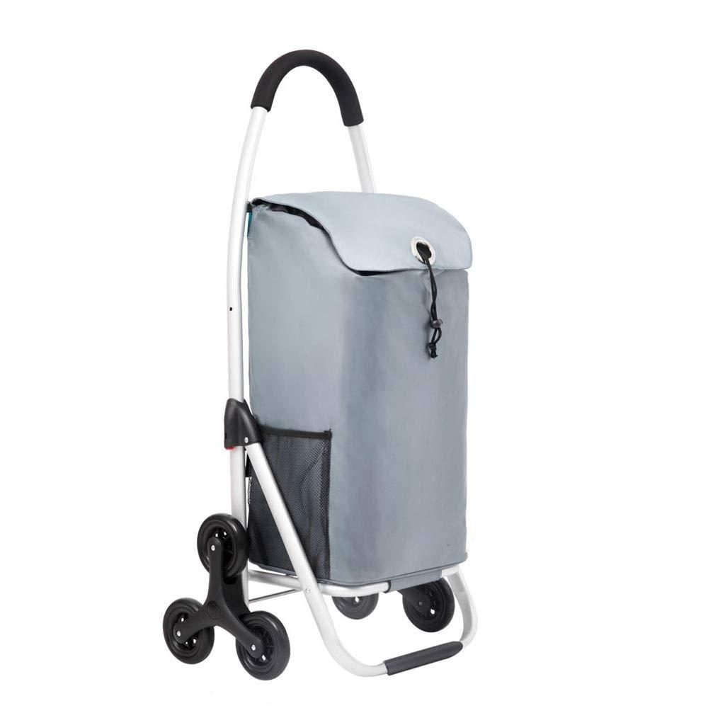 Lxrzls Climbing Shopping Cart ,Shopping Trolley ,Portable Cart Small Cart Folding Trolley (Color : Silver)
