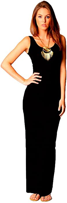 1b51bb5568 Women Ladies Vest Racer Muscle Back Jersey Long Summer Maxi Dress Plus Size  8-18 (8, Black)