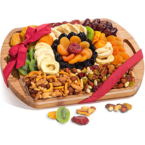 Christmas Dried Fruit and Gourmet Snacks Gift On Bamboo Cutting Board With Handles ()