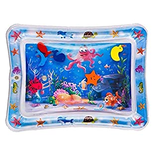 aquafun New Baby Tummy Time Inflatable Water Play Mat for Infants and Toddlers Boy Girl 6 Floating in-Water Sea Animals, Octopus Character and More