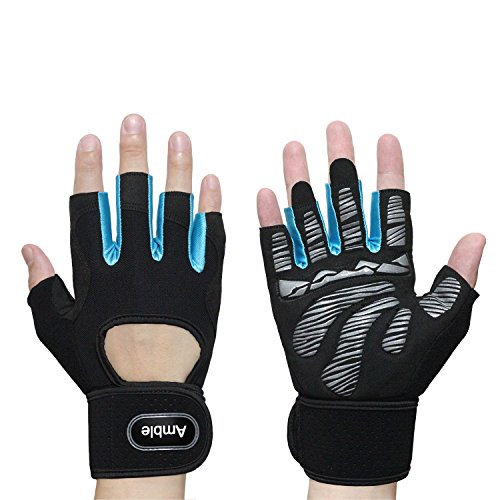 Amble Workout Gloves with Wrist Support Protection - Ventilated Gym Gloves with Full Palm Pad and Strong Grip for Lifting, Pull up and Other Workout - For Men and (Palm Pad Glove)