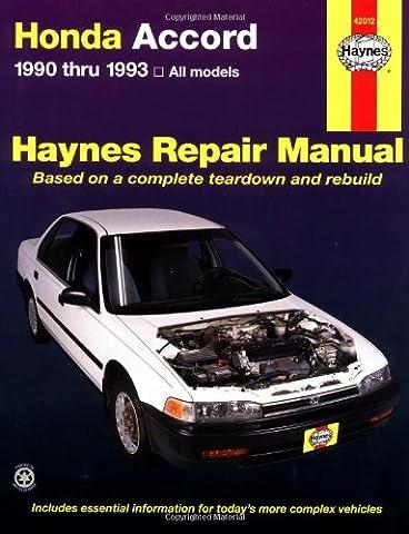 Honda Accord 1990 Thru 1993: All Models (Haynes Repair Manual) (Bt Diagnostic)