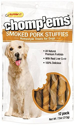 Ruffin It All Natural Smoked Pork Stuffies Dog Treats With Real Liver, (12 Pork Stuffies in Total) by Ruffin It