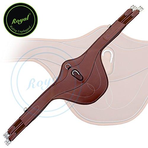 Royal Fancy Snap Belly Pad Stud Guard Girth./ Brown Elastic Grey & Maroon Lines. (Fancy Sewn Bridle)
