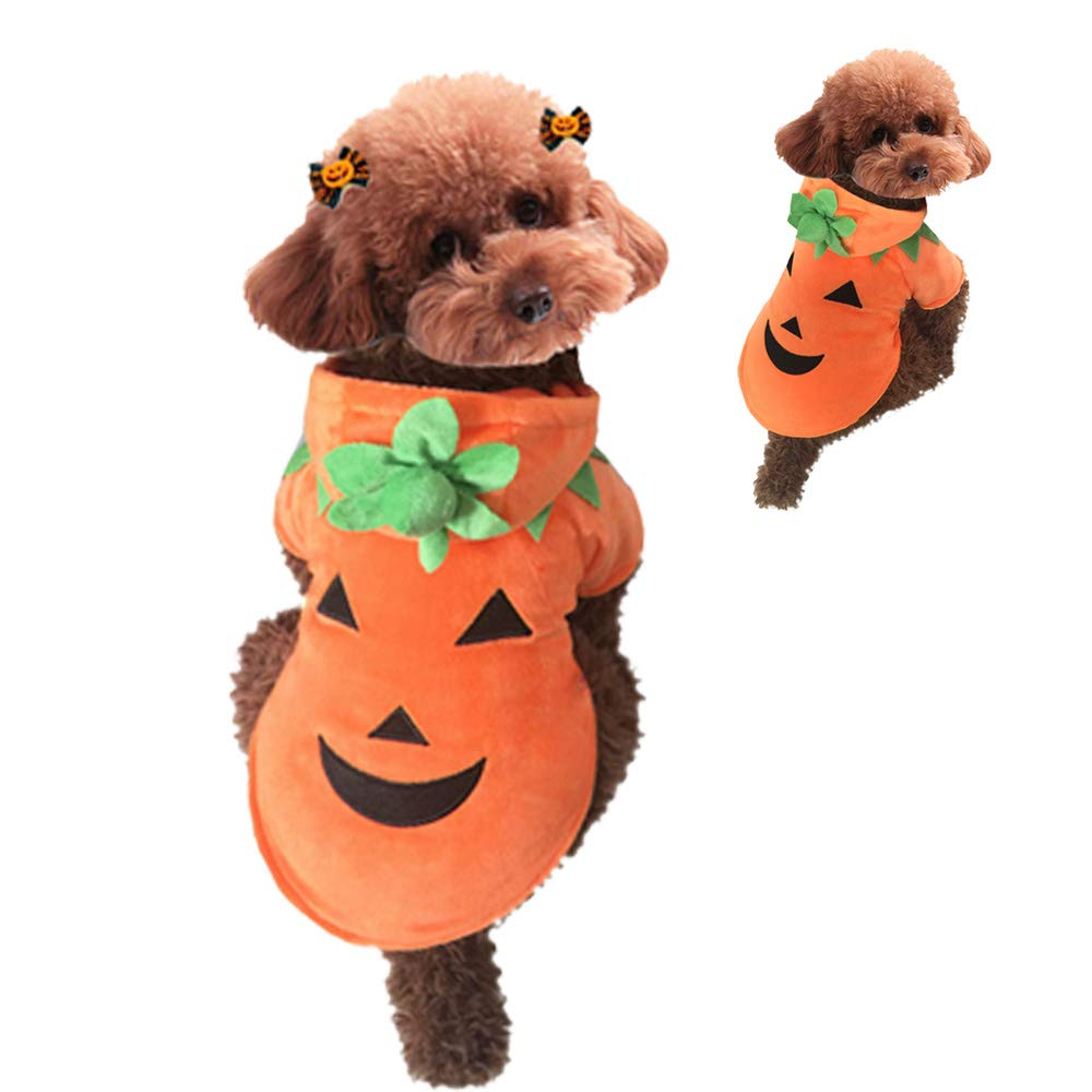 Aida's best Dog Halloween Costumes for Dogs, Kitten Clothes, Cosplay Dress for Puppy, Fleece Hoodies Outfit Holiday Warm Jumpsuit Apparel XL (Pumpkin, XL)