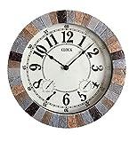Backyard Expressions 914932 Indoor/Outdoor Clock, Gray, Black, Brown