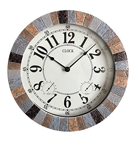 Backyard Expressions 914932 Indoor/Outdoor Clock, Gray, Black, Brown by Backyard Expressions