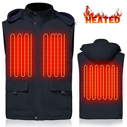 - GLOBAL VASION Electric Warmer Rechargeable Heated Vest with 3 Heat Settings (XL) Navy