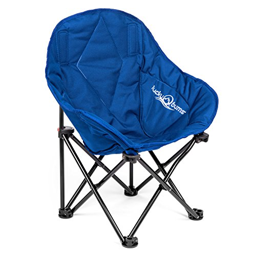 Lucky Bums Kids Oversized Folding Lounge Camp Chair, Navy, Small ()