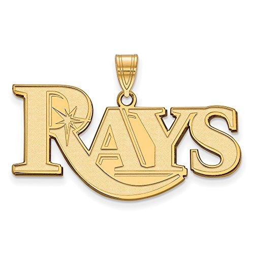 (Roy Rose Jewelry 14K Yellow Gold MLB LogoArt Tampa Bay Rays Large Pendant)