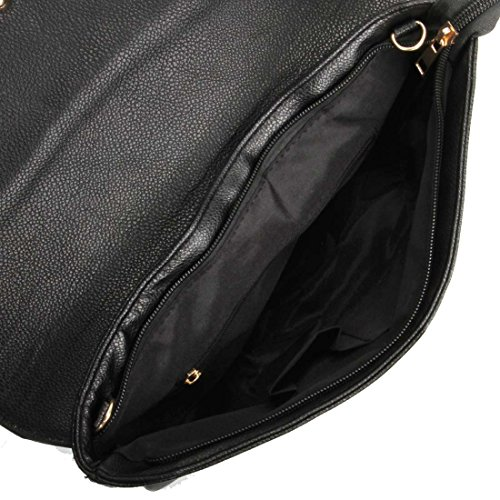 Fashionable Clutch BMC Large Envelope Style Film Statement Leather Womens Faux Noir p8Zqn5WZ1w
