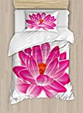 Ambesonne Lotus Duvet Cover Set Twin Size, Vibrant Lotus Flower Pattern Spa Zen Yoga Asian Balance Energy Lifestyle Artsy Image, Decorative 2 Piece Bedding Set with 1 Pillow Sham, Magenta Red