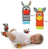 Donkey Zebra Wrist Rattle Socks Toys Foot Finder Set 4 in 1 Baby Infant Soft Animal Toys Developmental Soft To