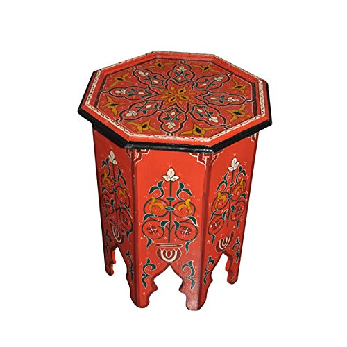 Moroccan Octagonal Hand Painted Accent Table Moorish Design (Painted Floral Accents)