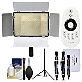 Vivitar Professional 600 LED 2200 Lumens Video Light with Remote with Light Stand + Cleaning Kit
