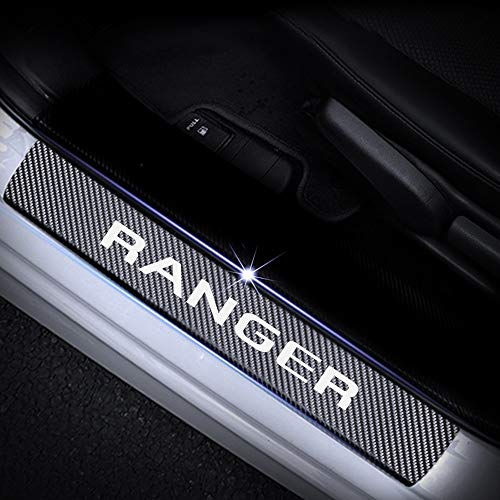 SENYAZON Ranger Decal Sticker Carbon Fibre Vinyl Reflective Car Door Sill Decoration Scuff Plate for Ford Ranger (White) - Ford Ranger Carbon