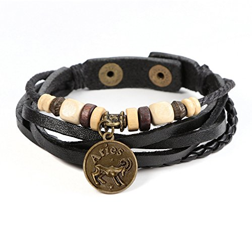 JewelrieShop Genuine Leather Bracelet for Men Constellation Braided Rope Bracelet Multilayer Adjustable Bangle Wrist Cuff Wristband Birthday Gift (Aries - Black Leather) (Coin Leather Bracelet)