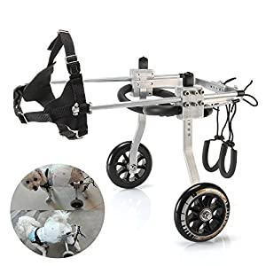 Anmas Sport Adjustable Dog Wheelchair for Small Dog,3-15 lbs dog,Behind leg Rehabilitation Click on image for further info.